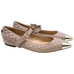 Valentino Pink Leather Rockstud Wedges  41.5