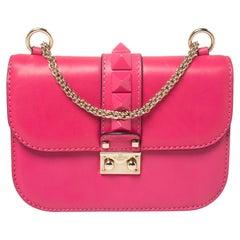 Valentino Pink Leather Small Rockstud Glam Lock Flap Bag