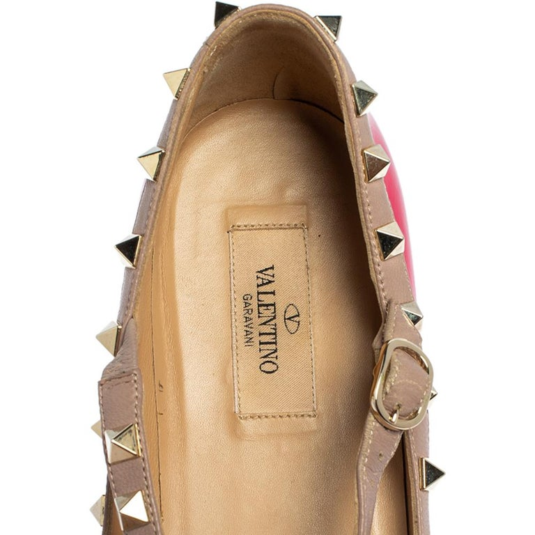 Women's Valentino Pink Patent Leather Rockstud Ankle Strap Flats Size 41 For Sale