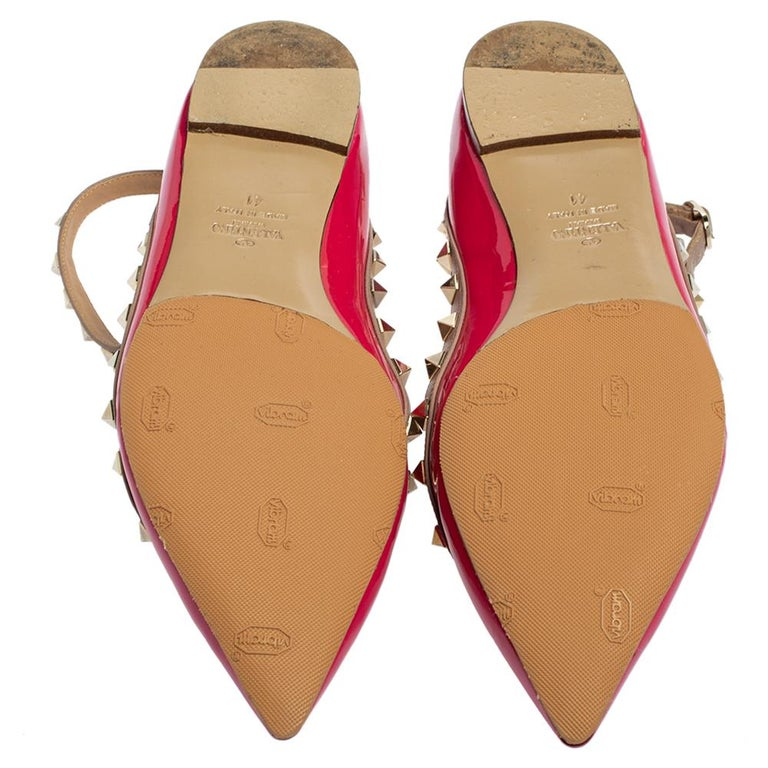 Valentino Pink Patent Leather Rockstud Ankle Strap Flats Size 41 For Sale 1