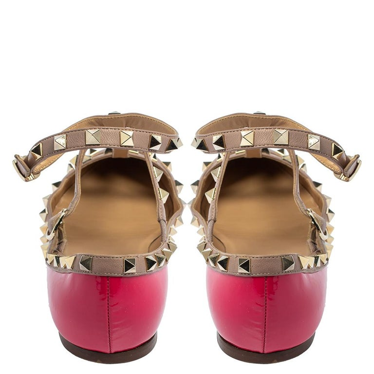 Valentino Pink Patent Leather Rockstud Ankle Strap Flats Size 41 For Sale 2