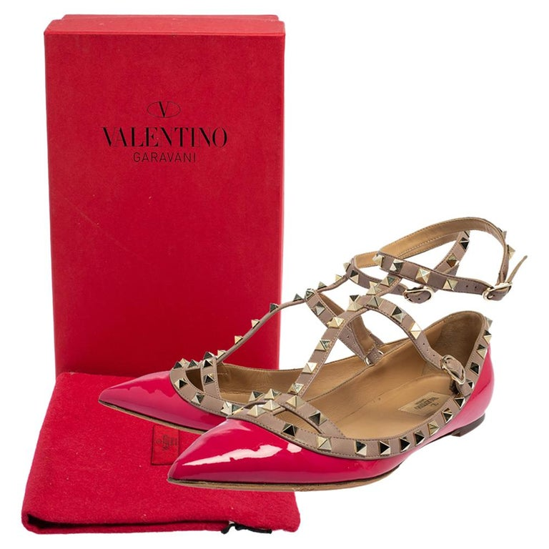 Valentino Pink Patent Leather Rockstud Ankle Strap Flats Size 41 For Sale 3
