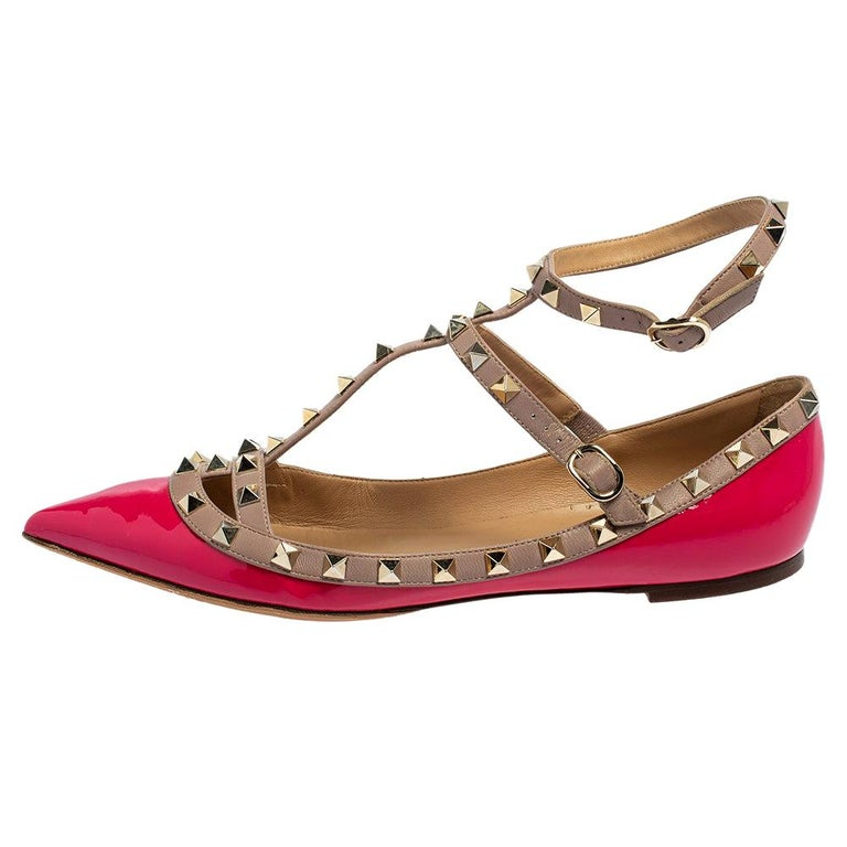 Valentino Pink Patent Leather Rockstud Ankle Strap Flats Size 41 For Sale
