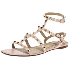 Valentino Pink Patent Leather Rockstud Cage Flat Sandals Size 38.5