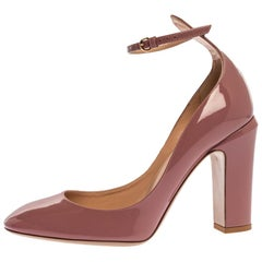 Valentino Pink Patent Leather Tango Ankle Strap Pumps Size 40.5