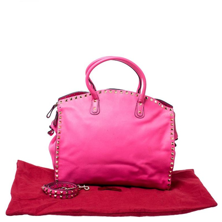 Valentino Pink Rockstud Leather Satchel For Sale 8