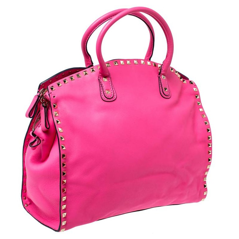 Women's Valentino Pink Rockstud Leather Satchel For Sale