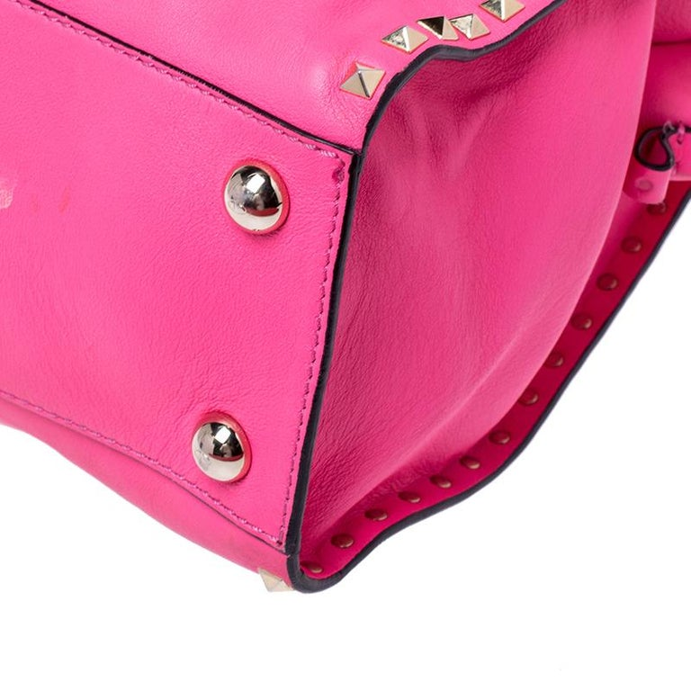 Valentino Pink Rockstud Leather Satchel For Sale 2