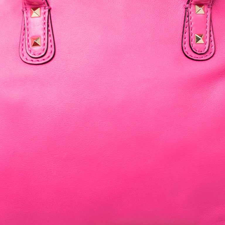Valentino Pink Rockstud Leather Satchel For Sale 3