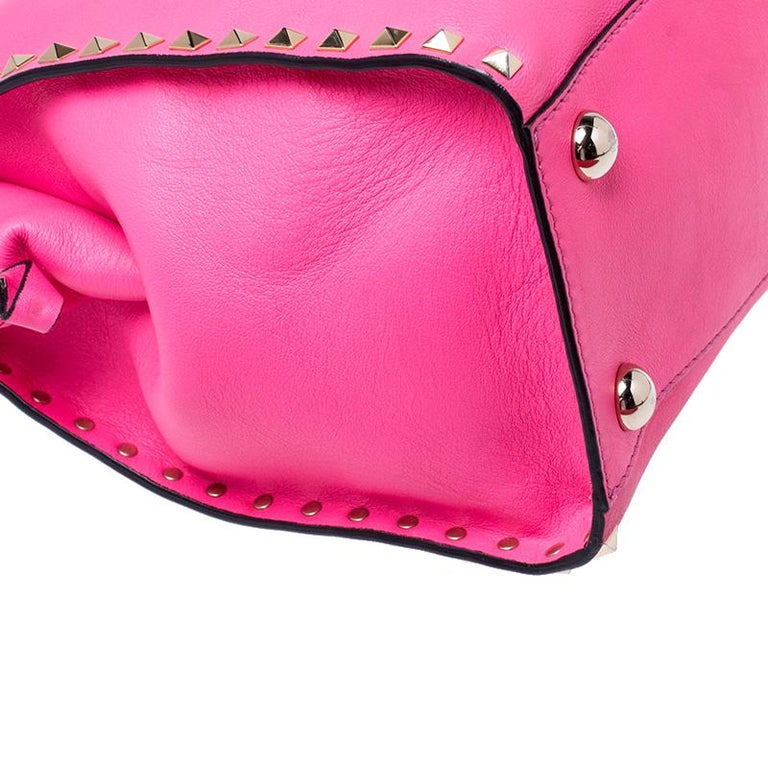 Valentino Pink Rockstud Leather Satchel For Sale 5