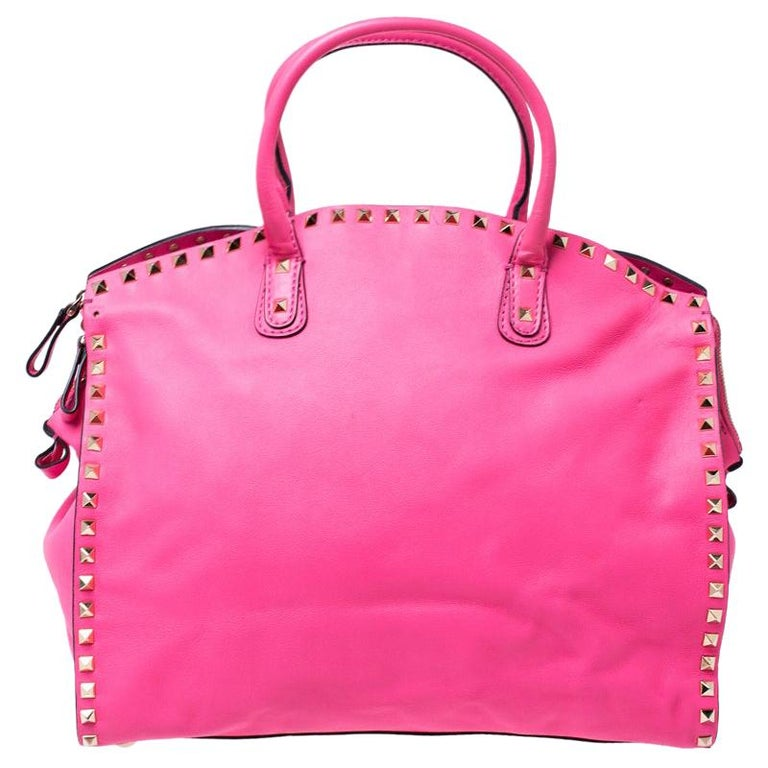 Valentino Pink Rockstud Leather Satchel For Sale