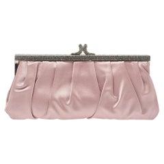 Valentino Pink Satin Crystal Embellished Frame Clutch