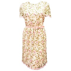 Valentino Pink Sequined Tulle Floral Dress 2013 Resort Collection Size 10 US