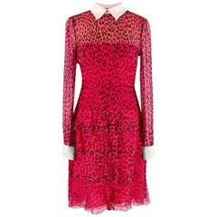 Valentino Pink Silk Chiffon Leopard Print Dress - Size US 2