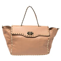 Valentino Pink Soft Leather Rockstud Top Handle Bag