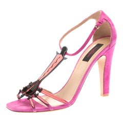 Valentino Pink Suede And Leather Love Blade T Strap Sandals Size 40