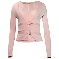 Valentino Pink Sweater Set w/ Buckle Detail sz Small