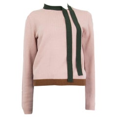 VALENTINO pink wool & cashmere BOW DETAIL Sweater S