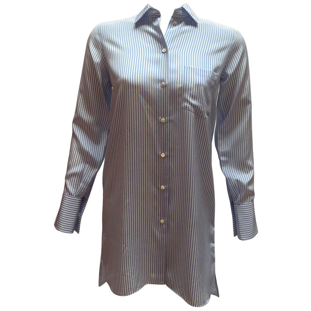 Valentino Pinstripe Blue and White Silk Button Down