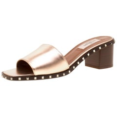 Valentino Poudre Leather Soul Rockstud Slide Mules Size 38