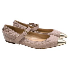 Valentino Poudre Quilted Calfskin Rockstud Ballerina Flats 41.5