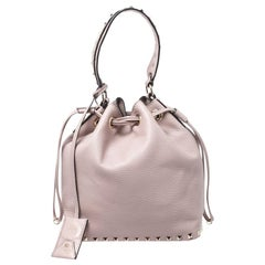 Valentino Powder Pink Leather Small Rockstud Bucket Bag
