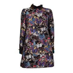 VALENTINO purple BUTTERFLY EMBROIDERED Long Sleeve FEATHER NECK Dress 40