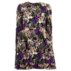 VALENTINO purple cotton BUTTERFLY EMBROIDERED Long Sleeve Dress 40