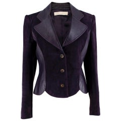 Valentino Purple Leather & Suede Tailored Jacket - Size US 6