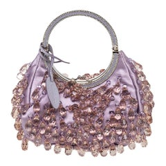 Valentino Purple Satin Embellished Clutch