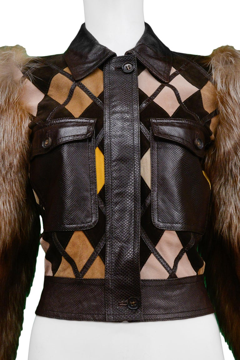 Black Valentino Python & Leather Jacket with Fur Sleeves Runway 2005  For Sale