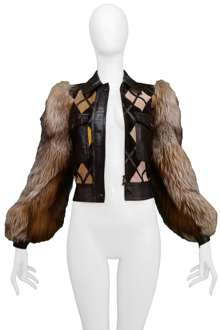 Valentino Python & Leather Jacket with Fur Sleeves Runway 2005  In Excellent Condition For Sale In Los Angeles, CA