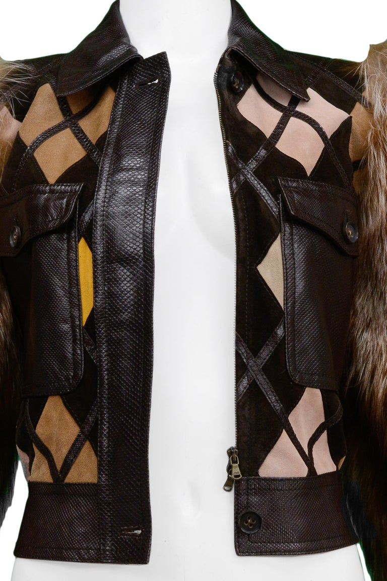 Women's Valentino Python & Leather Jacket with Fur Sleeves Runway 2005  For Sale