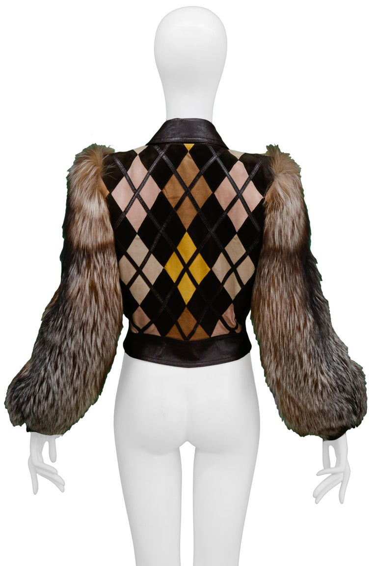 Valentino Python & Leather Jacket with Fur Sleeves Runway 2005  For Sale 1