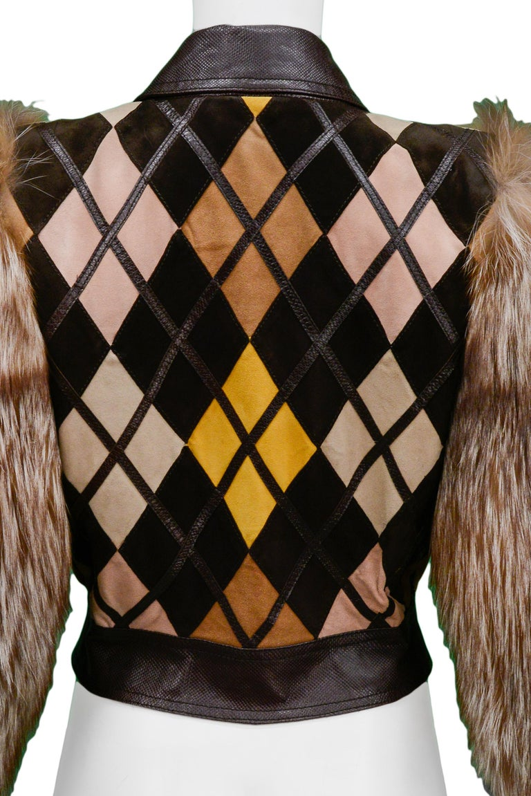Valentino Python & Leather Jacket with Fur Sleeves Runway 2005  For Sale 2