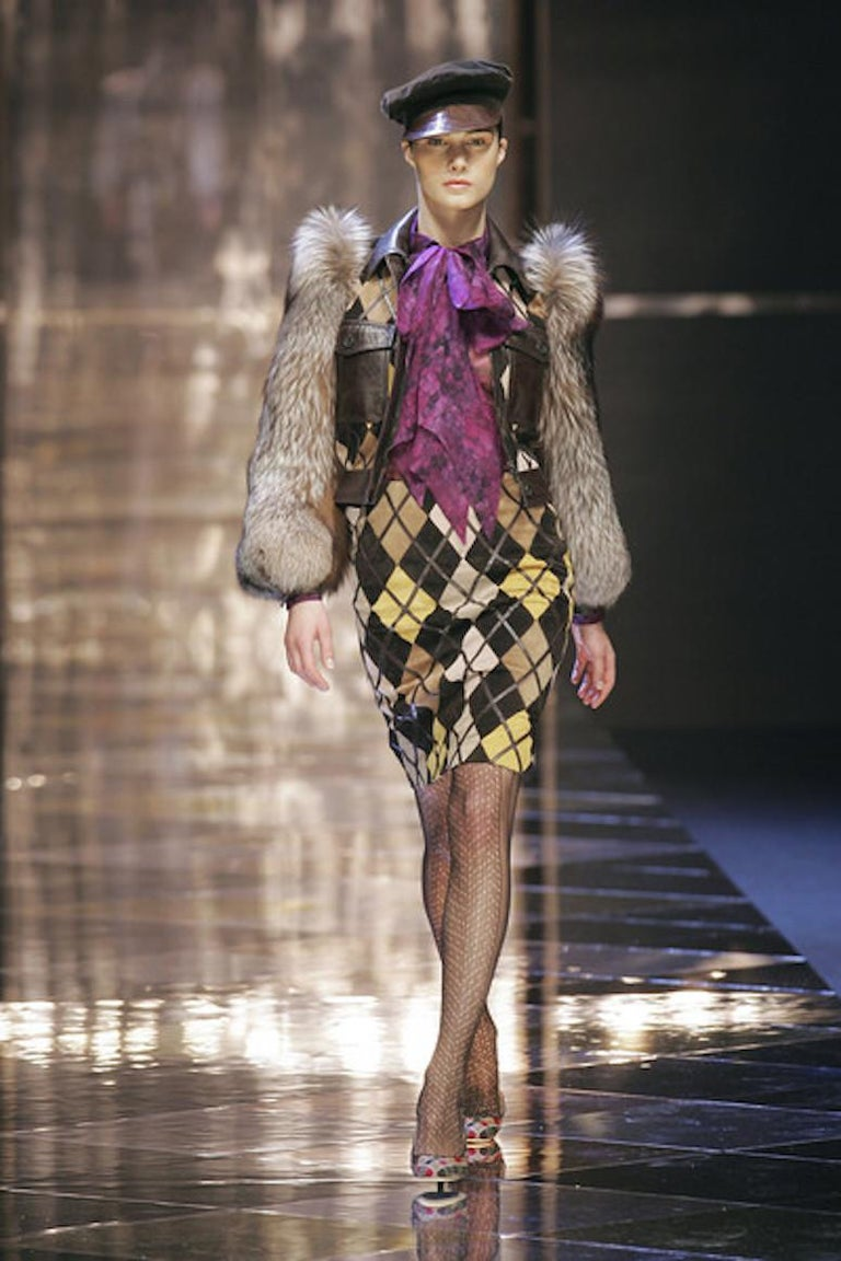 Valentino Python & Leather Jacket with Fur Sleeves Runway 2005  For Sale 3