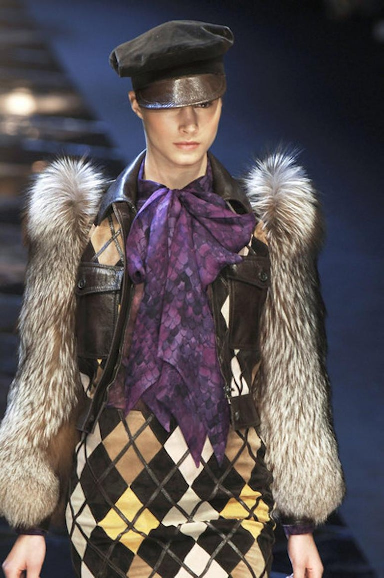 Valentino Python & Leather Jacket with Fur Sleeves Runway 2005  For Sale 4