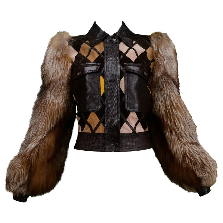 Valentino Python & Leather Jacket with Fur Sleeves Runway 2005  For Sale