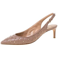 Valentino Quilted Leather Rockstud Embellished Pointed Toe Slingback Sandals 41