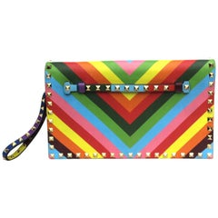 Valentino Rainbow Patterned Lambskin Rockstud Clutch