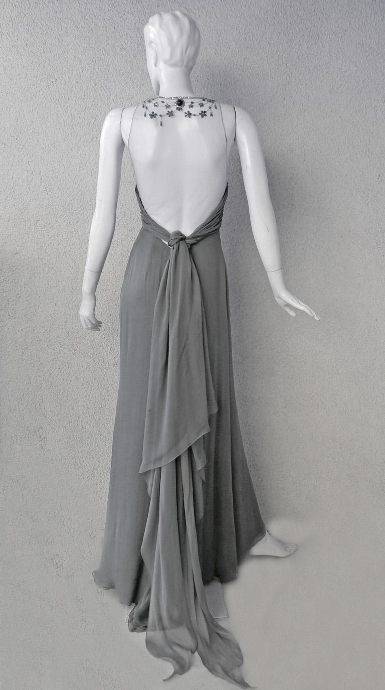 Women's Valentino Rare Runway Jeweled Hand Beaded Silk Chiffon Gown For Sale