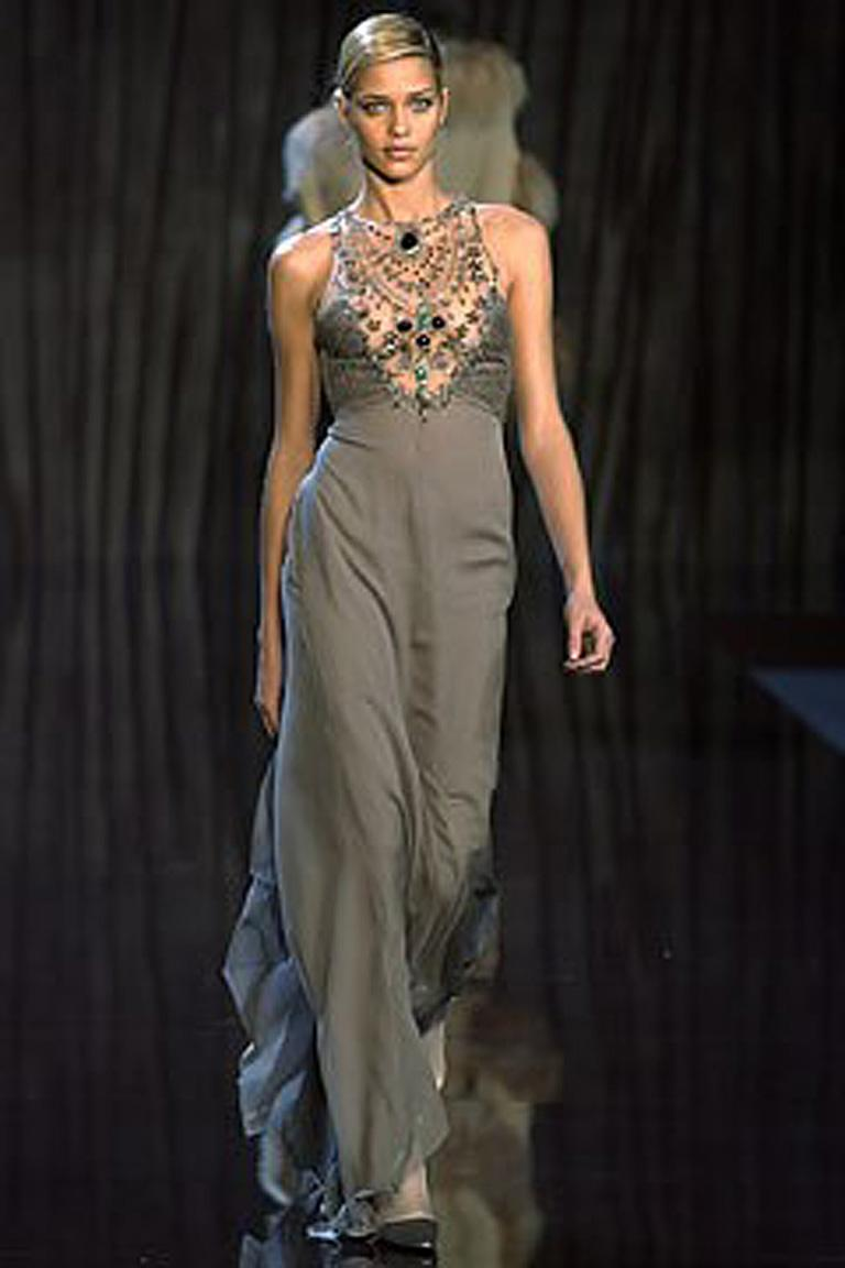 Valentino Rare Runway Jeweled Hand Beaded Silk Chiffon Gown For Sale 3