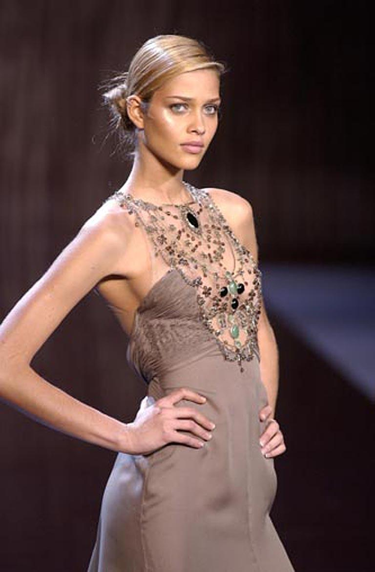 Valentino Rare Runway Jeweled Hand Beaded Silk Chiffon Gown For Sale 4