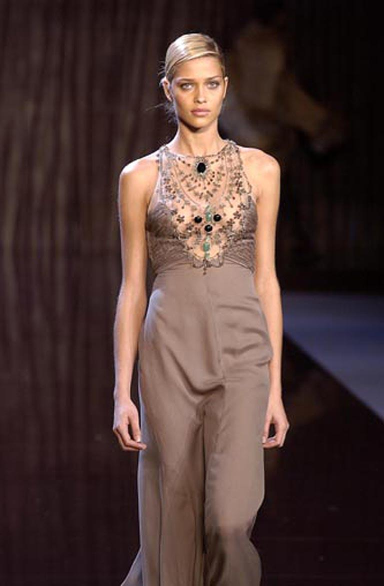 Valentino Rare Runway Jeweled Hand Beaded Silk Chiffon Gown For Sale 5
