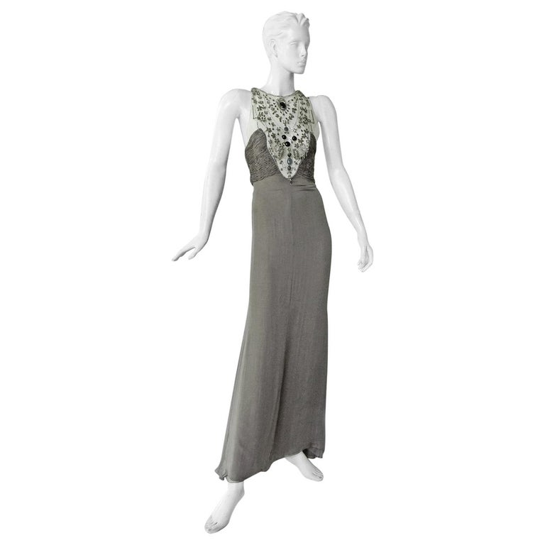 Valentino Rare Runway Jeweled Hand Beaded Silk Chiffon Gown For Sale