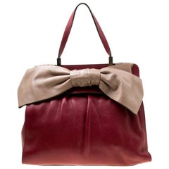 Valentino Red/Beige Leather Aphrodite Bow Bag