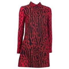 VALENTINO red & black cotton LEOPARD PRINT Long Sleeve Shirt Dress 40