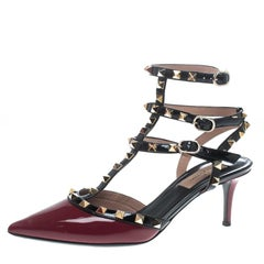 Valentino Red/Black Patent Leather Rolling Rockstud Sandals Size 38
