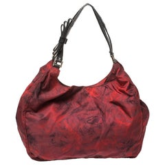 Valentino Red/Black Rose Printed Nylon Bow Handles Shoulder Bag