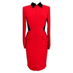 Valentino Red Black Velvet Sheath Dress 1990s
